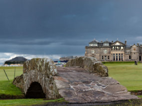 The famous Swilcan bridge on St Andrews Old Course,